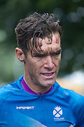 Mcc0055084 . Daily Telegraph<br /> <br /> Scotlands David Millar finished in 11th place in the Men's Road Race on Day 11 of the 2014 Commonwealth Games in Glasgow . Out of 140 competitors only 12 finished the 104 mile  race in often torrential rain through the streets of Glasgow .<br /> <br /> Glasgow 3 August 2014