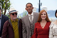 President of the Jury Pedro Almodóvar, actor Will Smith and actress Jessica Chastain at the Members of the Jury photocall at the 70th Cannes Film Festival Wednesday May 17th 2017, Cannes, France. Photo credit: Doreen Kennedy