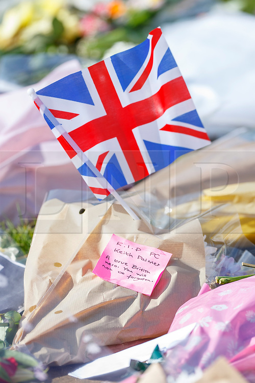 © Licensed to London News Pictures. 25/03/2017. London, UK. Flowers left by members of public to pay their respects to the victims of Westminster terror attack in Parliament Square, London on 25 March 2017. Photo credit: Tolga Akmen/LNP