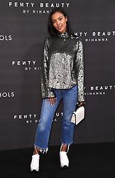 Maya Jama arriving at the Fenty Beauty By Rihanna Party, Harvey Nichols, Knightsbridge, London