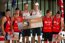 Second placed Anze Bahc and Tadej Bozenk, winner Danijel and his brother Jan Pokersnik and third placed Jernej Potocnik and Danijel Koncilja during medal ceremony after the final matches of Slovenian National Championship in beach volleyball Kranj 2012, on June 30, 2012 in Kranj, Slovenia. (Photo by Vid Ponikvar / Sportida.com)