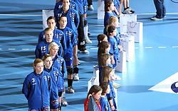 Team of Krim before EHF Champions league handball match in Group II between RK Krim Mercator and Gyori Audi Eto KC, on February 7, 2009, in Kodeljevo, Ljubljana, Slovenia. Gyori won 35:31. (Photo by Vid Ponikvar / Sportida)