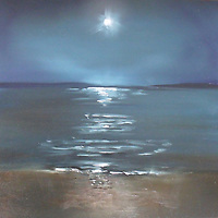 A full moon rises over Morro Bay.<br /> <br /> Oil on board, 12 x 12<br /> Sold.