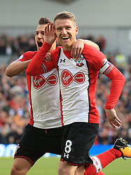 29 October 2017 -  Premier League - Brighton and Hove Albion v Southampton - Steven Davis of Southampton celebrates scoring the opening goal with Cedric Soares - Photo: Marc Atkins/Offside