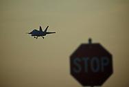 F-18 Super Hornets land at Oceana Naval Air Station. Mandatory Credit: Peter J. Casey