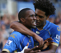 Fotball<br /> England<br /> Foto: Fotosport/Digitalsport<br /> NORWAY ONLY<br /> <br /> Lassana Diarra (L-Portsmouth) celebrates his goal with Glen Johnson<br /> 25.08.08  Portsmouth v Middlesbrough Premier League