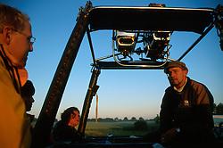 GERMANY SCHLESWIG-HOLSTEIN KIEL 9JUN02 - Balloon pilot Andreas Kuehl briefs fellow passengers on procedures before commencing flight preparations...jre/Photo by Jiri Rezac..© Jiri Rezac 2002..Contact: +44 (0) 7050 110 417..Mobile:  +44 (0) 7801 337 683.Office:  +44 (0) 20 8968 9635..Email:   jiri@jirirezac.com.Web:     www.jirirezac.com