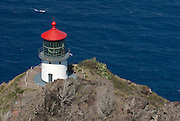 A view of Makpuu Lighthouse from the top of Makapuu on the island of Oahu in Hawaii.