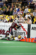 4/12/2007 - Delvin Myles makes a stop against the Frisco Thunder in the 33-46 loss to the Thunder in the first professional football game in Alaska.