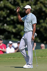 September 21, 2018 - Atlanta, Georgia, United States - Tiger Woods waves to the crowd after a birdie putt on the second hole during the second round of the 2018 TOUR Championship. (Credit Image: © Debby Wong/ZUMA Wire)