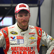 Driver Dale Earnhardt Jr. is seen in a frustrated state during the  56th Annual NASCAR Daytona 500 practice session at Daytona International Speedway on Wednesday, February 19, 2014 in Daytona Beach, Florida.  (AP Photo/Alex Menendez)