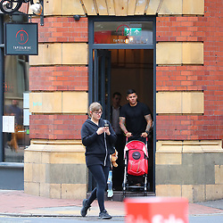 Marcos Roja is seen leaving Ander Herrera's Birthday Lunch at Tapeo & Wine Restaurant in Manchester