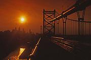 Philadelphia Skyline Silhouette, Ben Franklin Bridge, Sunset