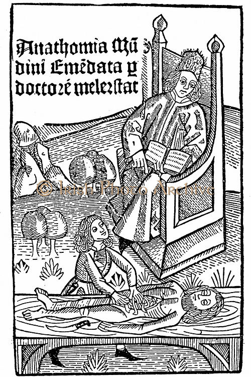 Title page of Mondino de 'Luzzi (Mundinus) 'Anathomia', published by Martin Pollick van Mellerstadt, Leipzig, 1493, showing anatomy demonstration.  Finished in 1316, 'Anathomia' was first published in Padua in 1478 and for upwards of a hundred years was the only textbook on anatomy. Italian physician and anatomist said to have been first since ancient times to carry out human dissection. Woodcut.