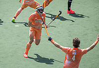 AMSTELVEEN -  Jip Janssen (Ned) brengt de stand op 2-2, EK hockey, finale Nederland-Duitsland 2-2. mannen.  Nederland wint de shoot outs en is Europees Kampioen.  COPYRIGHT KOEN SUYK
