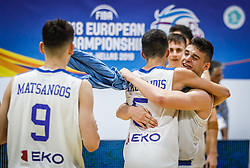 Nikolaidis  Alexandros of Greece, Karampelas  Zois of Greece celebrate during basketball match between National teams of Greece and Slovenia in the Group Phase C of FIBA U18 European Championship 2019, on July 29, 2019 in  Nea Ionia Hall, Volos, Greece. Photo by Vid Ponikvar / Sportida