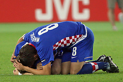 Sad Ognjen Vukojevic (behind) and Ivan Klasnic of Croatia after penalty shots during the UEFA EURO 2008 Quarter-Final soccer match between Croatia and Turkey at Ernst-Happel Stadium, on June 20,2008, in Wien, Austria.  Won of Turkey after penalty shots. (Photo by Vid Ponikvar / Sportal Images)