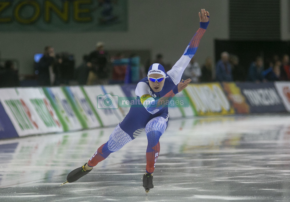 March 9, 2019 - Salt Lake City, Utah, USA - Pavel Kulizhnikov of Russia competes in the 500m speed skating finals at the ISU World Cup at the Olympic Oval in Salt Lake City, Utah. (Credit Image: © Natalie Behring/ZUMA Wire)