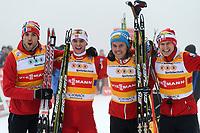 Kombinert<br /> FIS World Cup<br /> Schonau Østerrike<br /> 05.01.2013<br /> Foto: Gepa/Digitalsport<br /> NORWAY ONLY<br /> <br /> FIS Weltcup, Teambewerb, Siegerehrung. Bild zeigt Magnus H. Moan, Jørgen Graabak, Mikko Kokslien und Håvard Klemetsen (NOR).