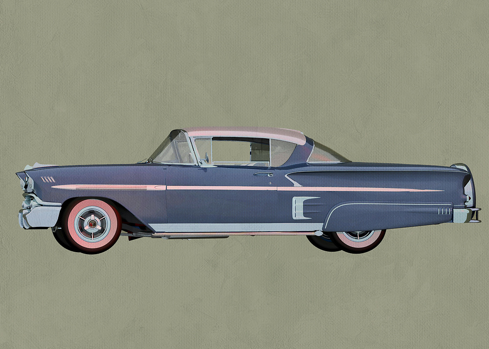 Chevrolette Impala 1959 Hard Top<br /> 1959 was a great year for cars. Any historian of Americana will tell you that. You can easily imagine this car being a dominant on the flowering highways of America. Take a trip back in time with this stunning digital painting. It can make for a fine addition to virtually any space .