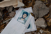 Sco0033837 .  Daily Telegraph..The records of a former detainee lie in the rubble of Tripoli's former Internal Security offices ...Tripoli 9 September 2011