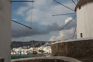 Wind Mills on the island of Mykonos, Greece.  Photograph by Dennis Brack