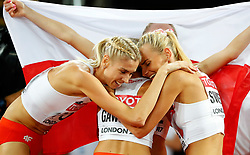 LONDON, Aug. 14, 2017  Team Poland celebrates after Women's 4X400 Relay Final on Day 10 of the 2017 IAAF World Championships at London Stadium in London, Britain, on Aug. 13, 2017. Team Poland took the bronze with 3 minutes 25.41 seconds. (Credit Image: © Wang Lili/Xinhua via ZUMA Wire)