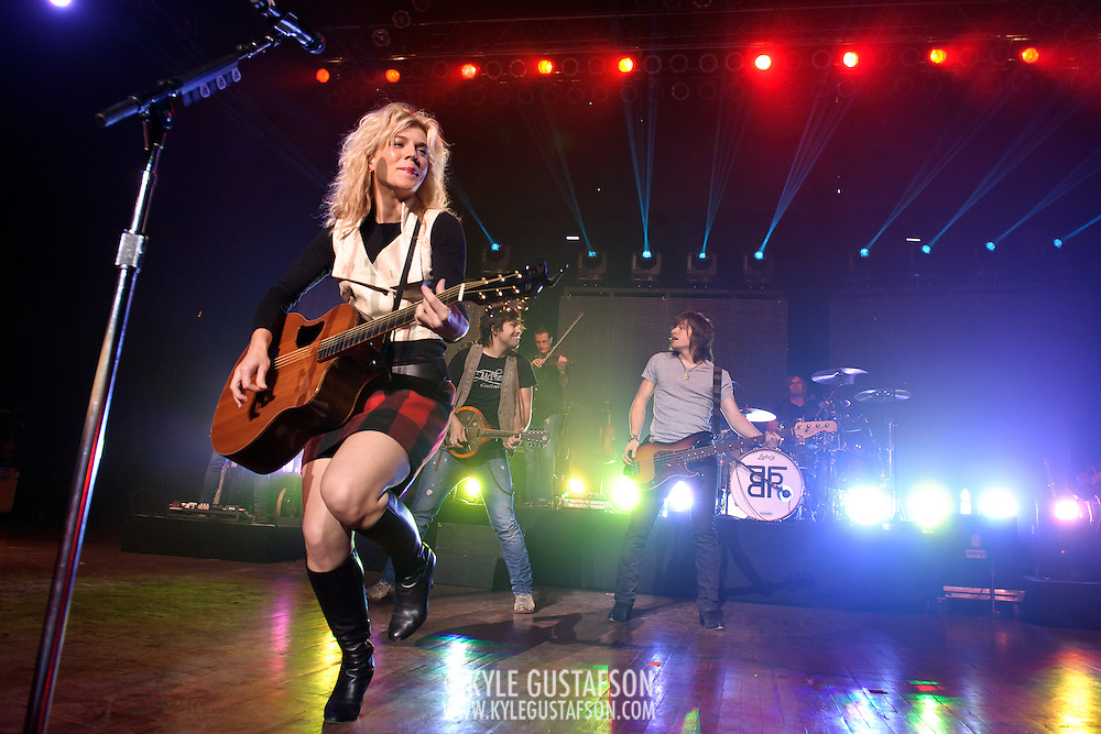 "COLUMBIA, MD - October 16th, 2011: Kimberly Perry and her brothers Neil Perry and Reid Perry of The Band Perry perform at the 2011 Sunday In The Country festival at Merriweather Post Pavilion in Columbia, MD. The band's single ""If I Die Young"" reached number one on the Billboard Hot Country Songs chart.  (Photo by Kyle Gustafson/For The Washington Post)"