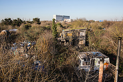 London, UK. 26th February, 2019. Grow Heathrow, a squatted eco-community founded in 2010 on a previously derelict site close to Heathrow airport in protest against government plans for a third runway which was today partially evicted by bailiffs. The community has developed an extensive garden and is acknowledged to have made a significant educational and spiritual contribution to life in the Heathrow villages which are threatened by airport expansion. Bailiffs today evicted most of the front section of the site, owned by Imran Malik, removing several protesters locked on in towers above the camp, but four protesters are believed to remain in a tunnel beneath that area. Many more protesters remain on the rear portion of the site. Five legal challenges to the government's approval of a 3rd runway at Heathrow will proceed to judicial review at the Royal Courts of Justice on 10th March.