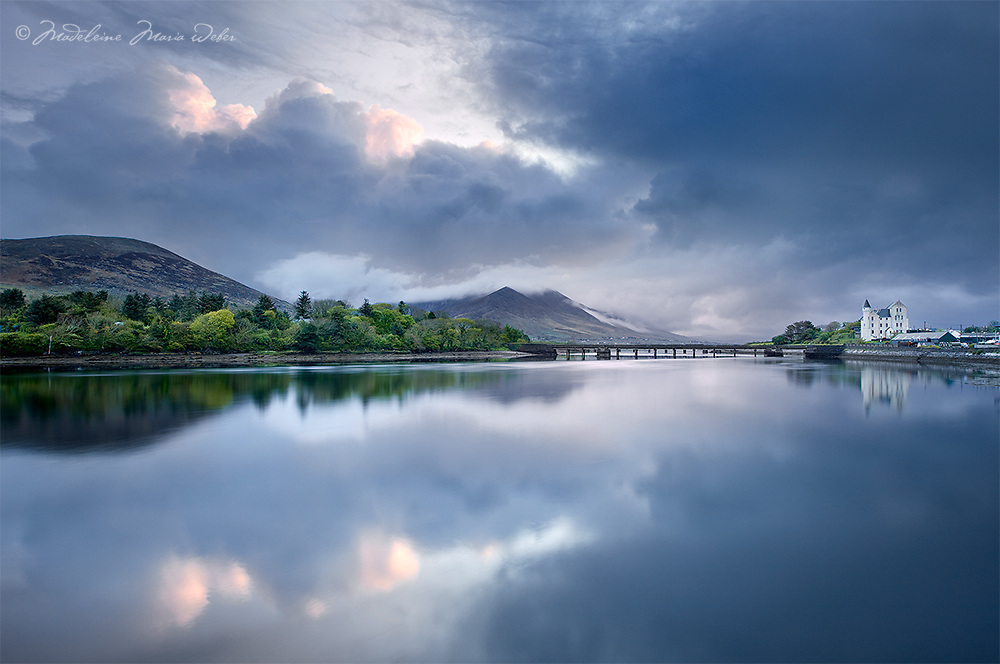 Dramatic Sunrise in Cahersiveen with View on the  heritage centre Old Barracks with bridge, County Kerry, Ireland / ch225<br /> <br /> Gold Award Winner SWPP
