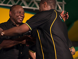 Dec. 18, 2012 - Mangaung, South Africa - CYRIL RAMAPHOSA, left, congratulated on being elected African National Congress, ANC, deputy president at the ANC's 53rd conference..(Credit Image: © Greg Marinovich/ZUMA Wire/ZUMAPRESS.com)
