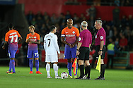 Vincent Kompany of Manchester city stands in the centre circle as the game kicks off. EFL Cup. 3rd round match, Swansea city v Manchester city at the Liberty Stadium in Swansea, South Wales on Wednesday 21st September 2016.<br /> pic by  Andrew Orchard, Andrew Orchard sports photography.