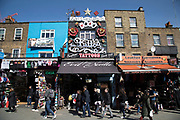 Busy hang out for young Londoners and tourists in Camden Town, London, England, United Kingdom. Camden Town is famed for its market, warren of fashion and shops near Regent's Canal, and is a haven of alternative counter culture.