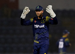 Glamorgan's Chris Cooke expresses frustration<br /> <br /> Photographer Simon King/Replay Images<br /> <br /> Vitality Blast T20 - Round 14 - Glamorgan v Surrey - Friday 17th August 2018 - Sophia Gardens - Cardiff<br /> <br /> World Copyright © Replay Images . All rights reserved. info@replayimages.co.uk - http://replayimages.co.uk