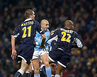 Photo. Jed Wee.<br /> Manchester City v Leeds United, FA Barclaycard Premiership, City of Manchester Stadium, Manchester. 22/12/2003.<br /> Manchester City's Antoine Sibierski (C) comes off the bench to head in City's equaliser.