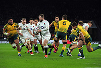 Football - 2018 Autumn International (Quilter Internationals) - England vs. Australia<br /> <br /> Elliot Daly of England runs past two tackles to score try no 2 , at Twickenham.<br /> <br /> COLORSPORT/ANDREW COWIE