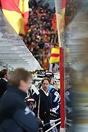 Rapperswils Trainer Michel Zeiter ist enttaeuscht, die Langnau Fans jubeln im Hintergrund im Spiel der Ligaqualifikation zwischen den Rapperswil-Jona Lakers und den SCL Tigers, am Montag, 06. April 2015, in der Diners Club Arena Rapperswil-Jona. (Thomas Oswald)