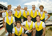 Munich, GERMANY, 2006, FISA, Rowing, World Cup,  AUS M8+  bronze medallist,Bow  Michael Szczurowski, 2. James Chapman, 3. Hardy Cubasch, 4. James Marburg, 5. Tom Laurich, 6 Karsten Fosterling, 7. Cameron McKenzie McHarg, stroke Jeremy Stevenson and cox Marty Rabjohns., Munich,Sat.  27.05.2006. © Peter Spurrier/Intersport-images.com,  / Mobile +44 [0] 7973 819 551 / email images@intersport-images.com.[Mandatory Credit, Peter Spurier/ Intersport Images] Rowing Course, Olympic Regatta Rowing Course, Munich, GERMANY