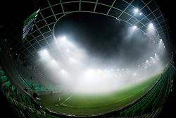 Fog due to the Green Dragons, fans of Olimpija during football match between NK Olimpija Ljubljana and FC Luka Koper in 26th Round of Prva liga Telekom Slovenije 2012/13 on March 30, 2013 in SRC Stozice, Ljubljana, Slovenia. (Photo By Vid Ponikvar / Sportida)