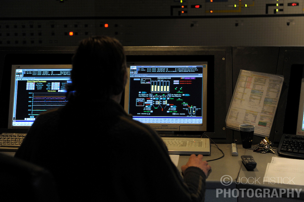 An Arcelor-Mittal employee, works in the control room for blast furnace B, at the Ougree facility near Liege, Belgium, Monday, Feb. 9, 2009. (Photo © Jock Fistick)
