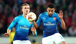Francis Coquelin of Arsenal heads the ball - Mandatory by-line: Robbie Stephenson/JMP - 23/11/2017 - FOOTBALL - RheinEnergieSTADION - Cologne,  - Cologne v Arsenal - UEFA Europa League Group H