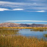 South America, Peru, Uros Islands. The floating reed islands of Lake Titicaca.
