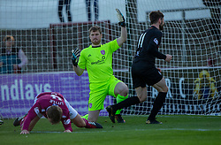 Arbroath's keeper Derek Gaston can't stop Arbroath's Ricky Little can only divert the ball into his own net for Clyde's second goal. Arbroath 0 v 2 Clyde, Tunnocks Caramel Wafer Challenge Cup 4th Round, played 12/10/2019 at Arbroath's home ground, Gayfield Park.