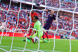 LONDON, ENGLAND - Saturday, August 6, 2016: Liverpool's Divock Origi scores the third goal against Barcelona during the International Champions Cup match at Wembley Stadium. (Pic by David Rawcliffe/Propaganda)