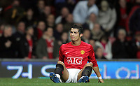 Photo: Paul Thomas/Sportsbeat Images.<br /> Manchester United v Fulham. The FA Barclays Premiership. 03/12/2007.<br /> <br /> Dejected Cristiano Ronaldo after missing a great goal chance, which would have been his third of the night.