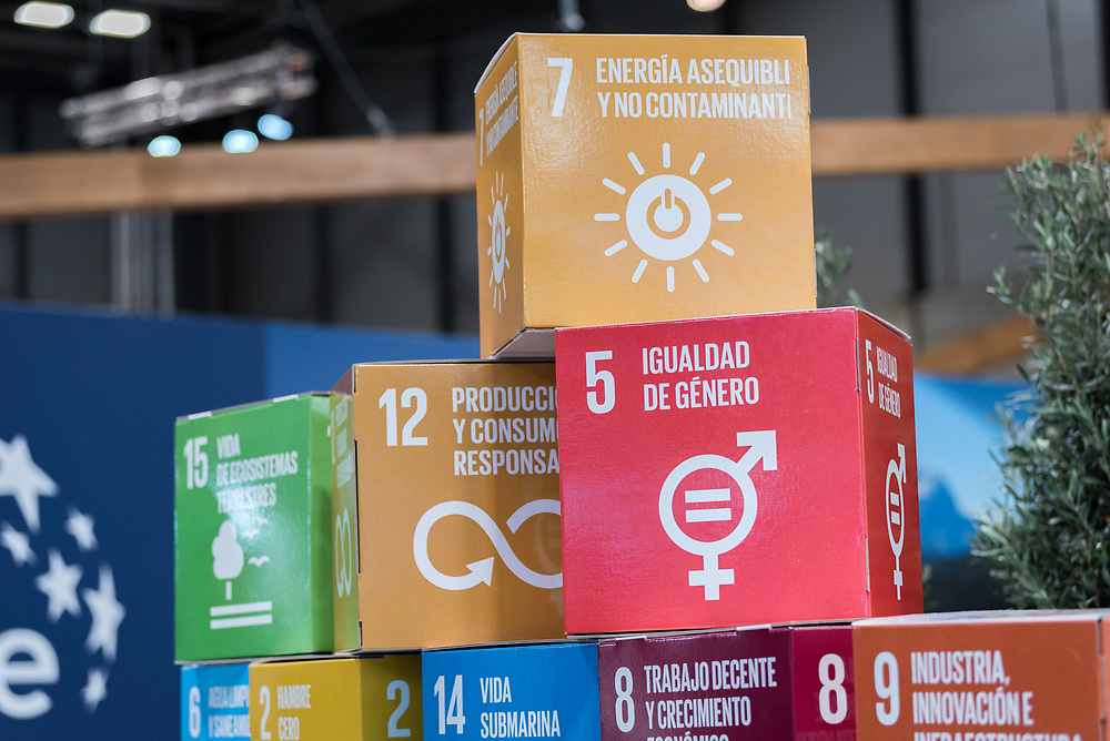10 December 2019, Madrid, Spain: Building blocks featuring the different Sustainable Development Goals lay piled up at one of the booths at COP25 in Madrid.