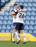 Preston North End's Jordan Storey (left) celebrates at the final whistle with Ched Evans<br /> <br /> Photographer Rich Linley/CameraSport<br /> <br /> The EFL Sky Bet Championship - Preston North End v Huddersfield Town - Saturday 27th February 2021 - Deepdale - Preston<br /> <br /> World Copyright © 2021 CameraSport. All rights reserved. 43 Linden Ave. Countesthorpe. Leicester. England. LE8 5PG - Tel: +44 (0) 116 277 4147 - admin@camerasport.com - www.camerasport.com