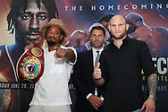 May 22, 2019; Providence, RI; WBO middleweight champion Demetrius Andrade and challenger Maciej Sulecki pose after the press conference announcing their June 29, 2019 fight at the Dunkin Donuts Center in Providence, RI.  Mandatory Credit: Ed Mulholland/Matchroom Boxing USA
