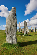Monolithic stone of Calanais Neolithic Standing Stone (Tursachan Chalanais) , Isle of Lewis, Outer Hebrides, Scotland. .<br /> <br /> Visit our SCOTLAND HISTORIC PLACXES PHOTO COLLECTIONS for more photos to download or buy as wall art prints https://funkystock.photoshelter.com/gallery-collection/Images-of-Scotland-Scotish-Historic-Places-Pictures-Photos/C0000eJg00xiv_iQ<br /> '<br /> Visit our PREHISTORIC PLACES PHOTO COLLECTIONS for more  photos to download or buy as prints https://funkystock.photoshelter.com/gallery-collection/Prehistoric-Neolithic-Sites-Art-Artefacts-Pictures-Photos/C0000tfxw63zrUT4