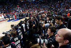 Photographers at medal ceremony after  the final basketball match between National teams of Turkey and USA at 2010 FIBA World Championships on September 12, 2010 at the Sinan Erdem Dome in Istanbul, Turkey.  USA defeated Turkey 81 - 64 and became World Champion 2010. (Photo By Vid Ponikvar / Sportida.com)